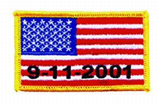U.S. Flag - 9/11/2001 - Med Gold Border - 3-3/8 X 2""