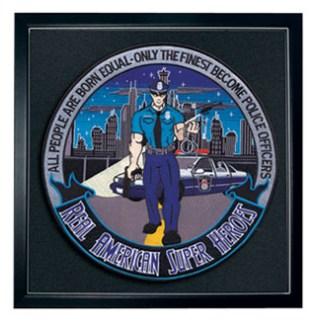 "Police Officer: American Superhero - 12""Circle - Framed-"