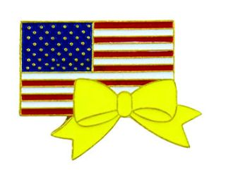 U.S. Flag w/Yellow Ribbon - Enameled Pin-