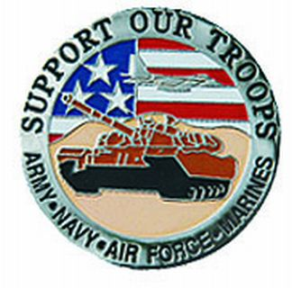 "Support Our Troops (tank) - 1-1/4""Circle Pin-"