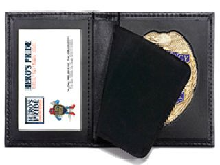 Bi-Fold Badge Case w/ Id Window - 2-Flag Badge Die Cut 3-