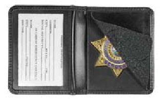Deluxe Low Profile Badge Case w/ Id - Shield Badge Die Cut 1-