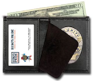 "Deluxe Bi-Fold Badge Wallet w/ Id Window - 2-5/8"" 5-Pt Star w/Banner Cut 148-"