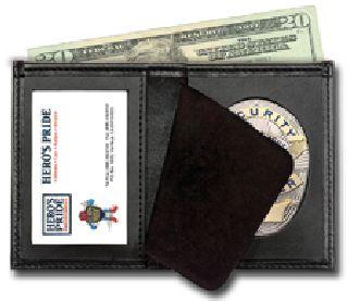 """Deluxe Bi-Fold Badge Wallet w/ Id Window - 2-5/8"""" 5-Pt Star w/Banner Cut 148-Hero's Pride"""