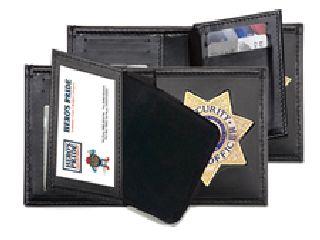 """Deluxe Bi-Fold Badge Wallet w/ Two Id Windows - 2-5/8"""" 5-Pt Star w/Banner Cut 148"""