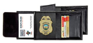"Deluxe Tri-Fold Badge Wallet w/Id & Credit Cards - 2-5/8"" 5-Pt Star w/Banner Cut 148-"