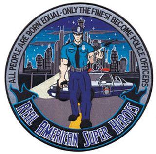 "T848502-Police Officer: American Superhero - 12""Circle - Framed-"