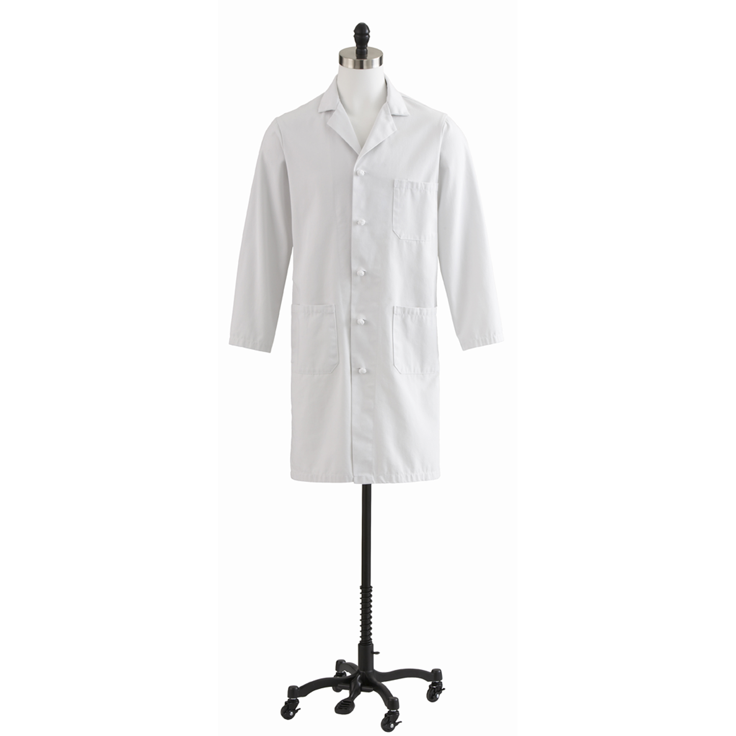 Men's Full Length White Lab Coat With Knot Button-Medline
