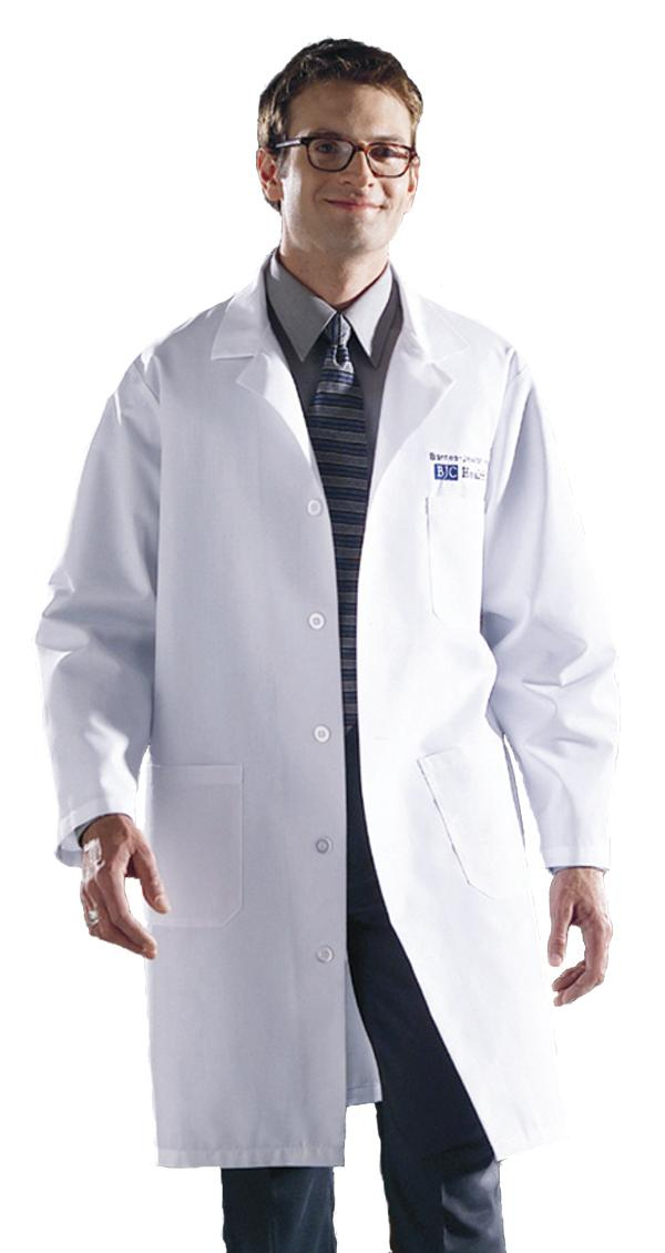 Knee Length White Unisex Lab Coat-Medline