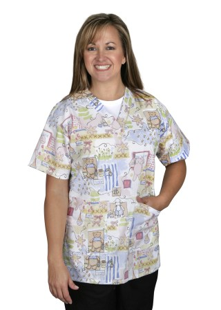 Angelstat Bunnies N Bears V-neck Two Pocket Scrub Top-Medline