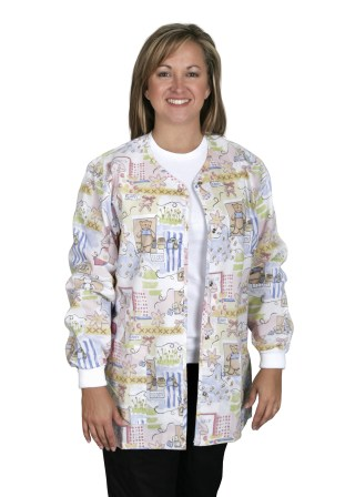 Angel Stat Bunnies And Bears Snap Front Warm-up Jacket-