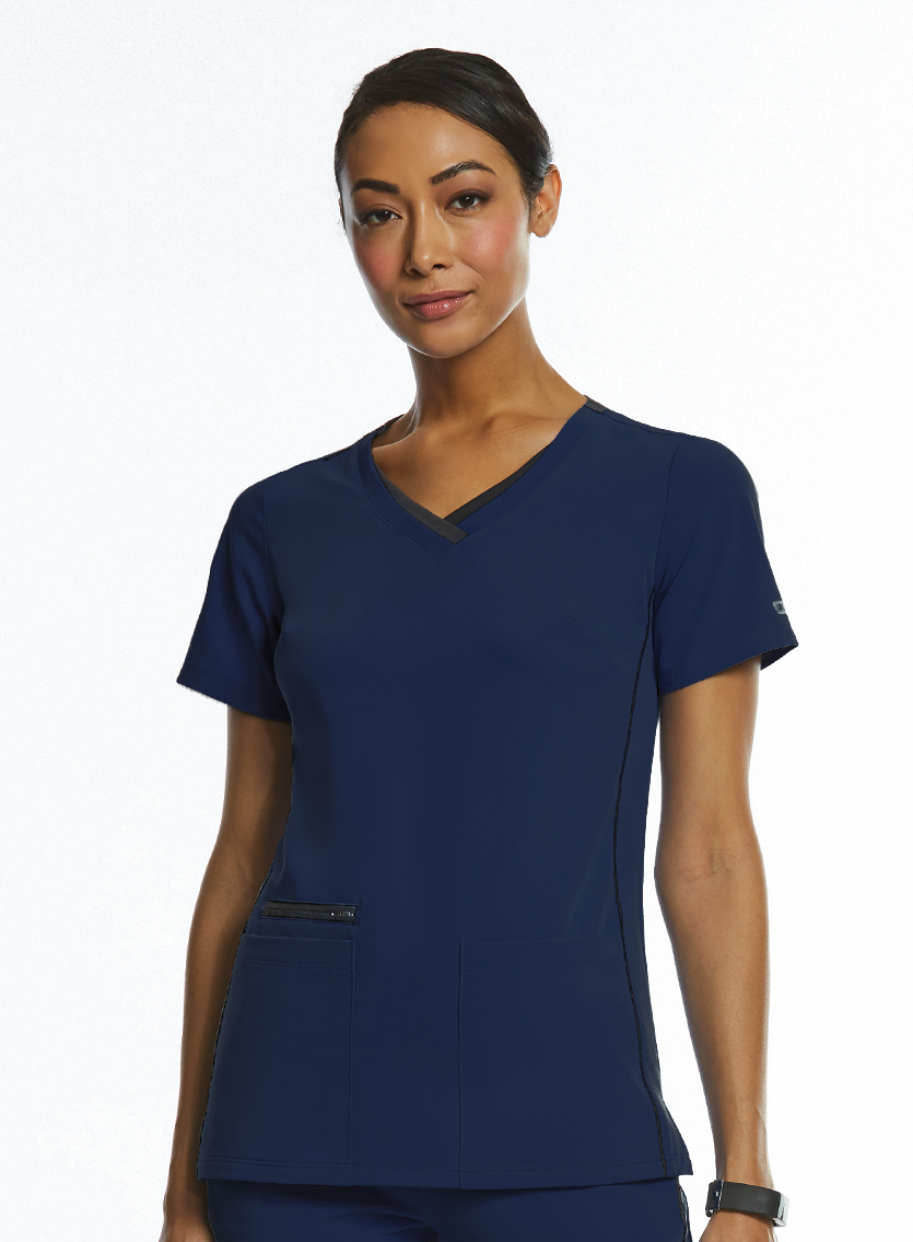 IRG Elite Sporty Contrast Double V-Neck Top-Raley Scrubs