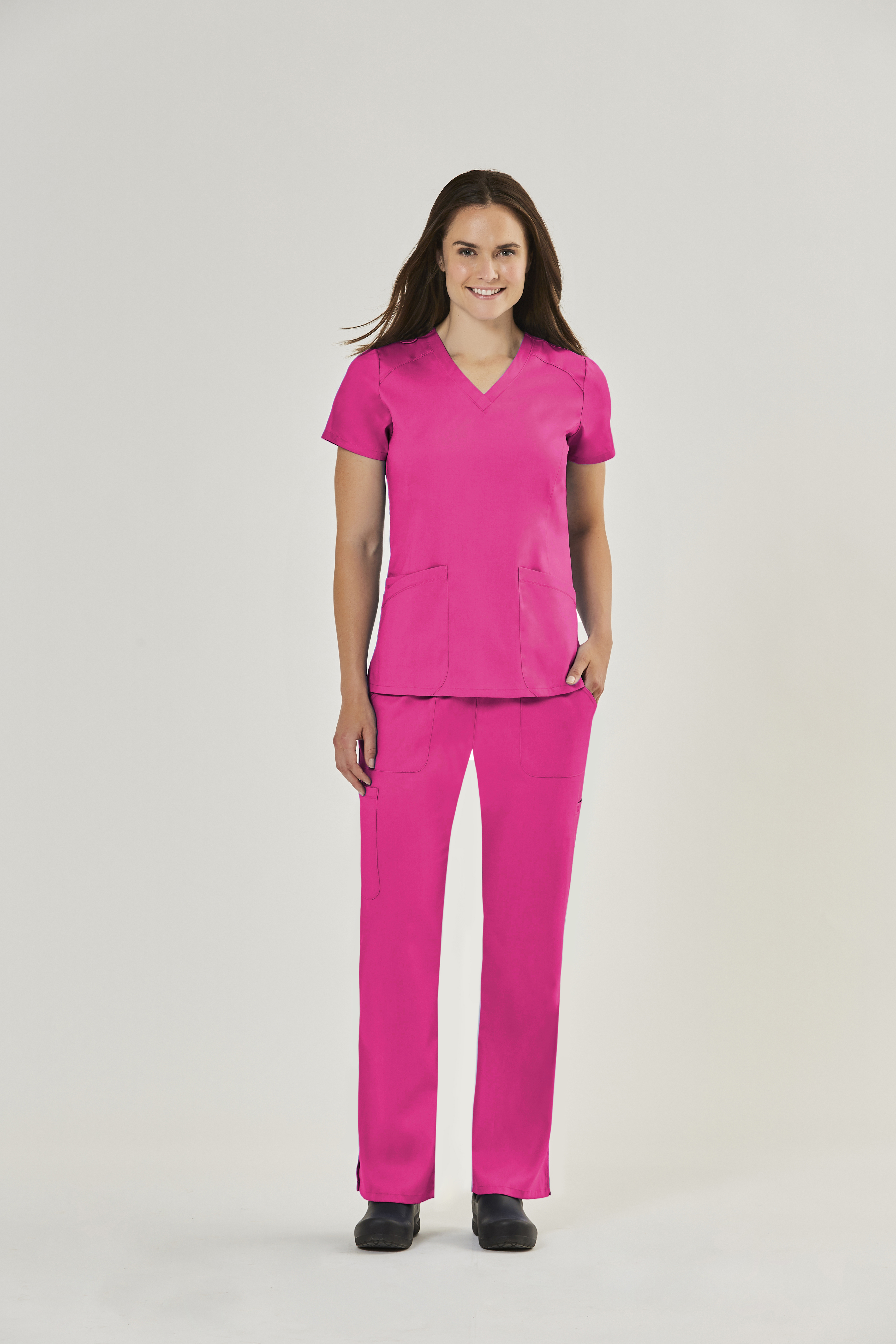 IRG EDGE Women's Curved V Neck Top-Raley Scrubs