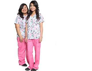 White and pink scrubs