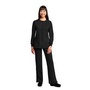 Woman Wearing Black Grey's Anatomy Scrubs