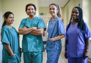 Four Nurse in Scrubs