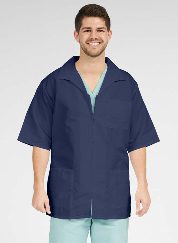 Zip Front Short Sleeve Smock-Medline