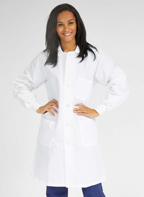 Knit Cuff Full Length Lab Coat