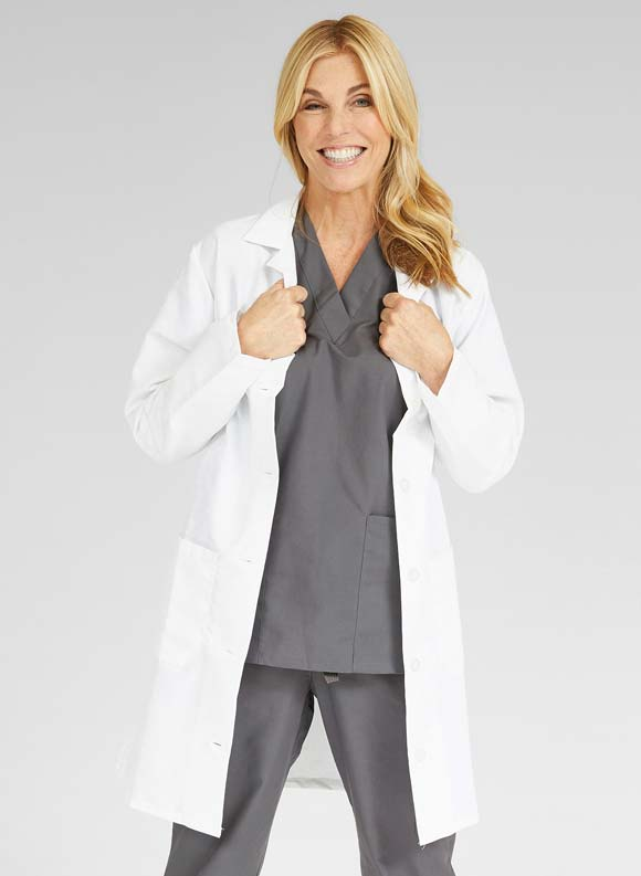 Tone on Tone Princess Cut Lab Coat