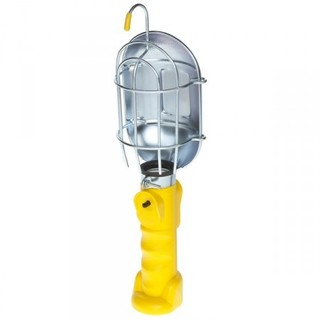 Incandescent Work Light w/Metal Guard & Single Outlet-