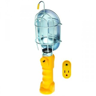 Incandescent Work Light w/Metal Guard & Single Outlet