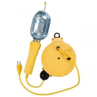Incandescent Work Light w/Metal Guard & Single Outlet on 20ft Reel