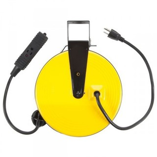 30ft Retractable Metal Cord Reel w/3 Outlets - 10amp