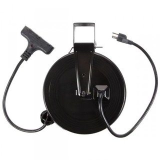 30ft Retractable Metal Cord Reel w/3 Outlets - 13amp