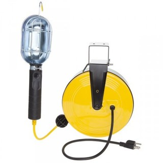 Incandescent Work Light w/Metal Guard on 50ft Metal Reel