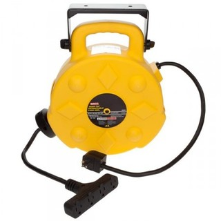 40ft Retractable Polymer Cord Reel w/4 Outlets - 15amp