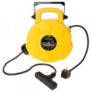 50ft Retractable Polymer Cord Reel w/4 Outlets - 15amp