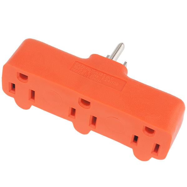Adapter - 3 Outlet Grounded Female to Single Grounded Male Plug - 15amp