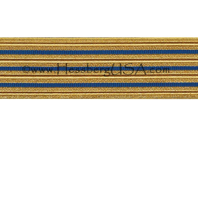 Jacquard Braid 18 Ligne Regular Gold/Royal Blue-Hessberg USA