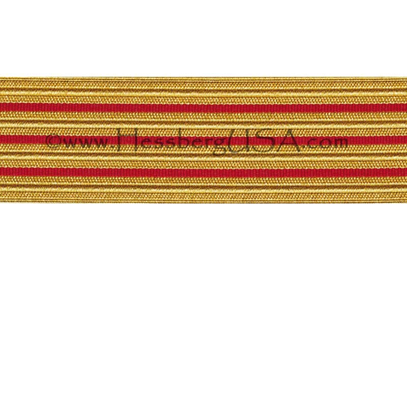 Jacquard Braid 18 Ligne Regular Gold/Red-Hessberg USA