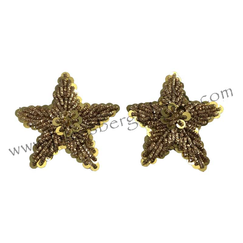 Vintage Embroidered Gold Sequin Stars-Hessberg USA