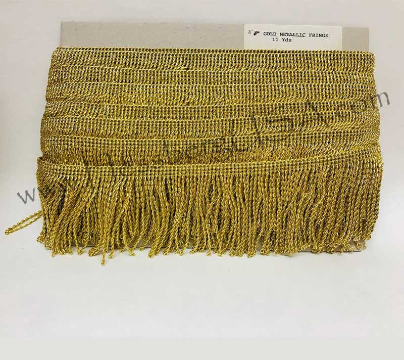 "Closeout Metallic Gold Fringe Trim 3""-Hessberg USA"