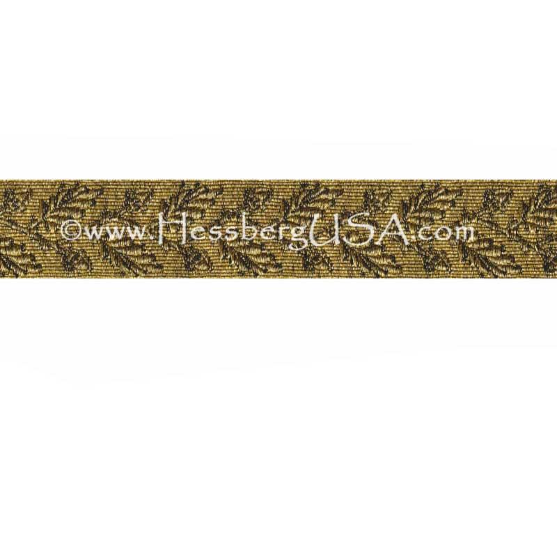 "Closeout 1"" Metallic Oak Leaf Braid (Regular Gold)-"