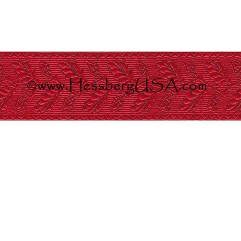 """Closeout 1 3/8"""" Non-Metallic Oak Leaf Braid (Red)-"""