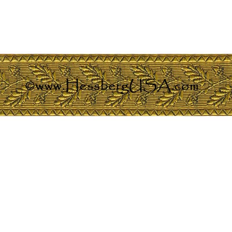 "Closeout 1 1/2"" Non-Metallic Oak Leaf Braid (Yellow)-"