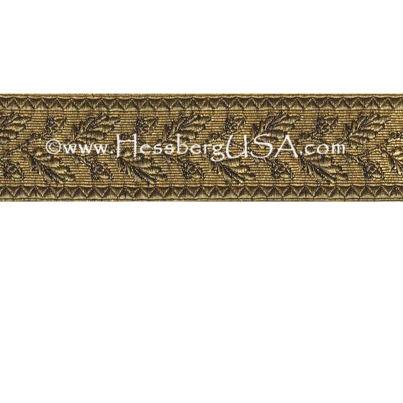 "Closeout 1 1/2"" Metallic Oak Leaf Braid (Regular Gold)-Hessberg USA"