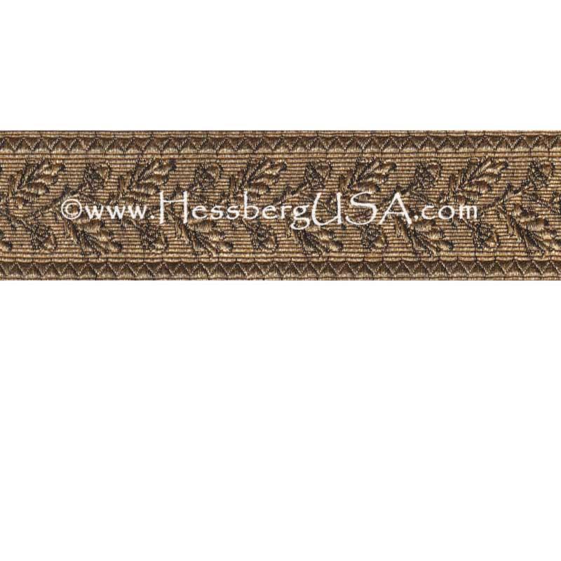 "Closeout 1 1/2"" Metallic Oak Leaf Braid (Dark Gold)-"