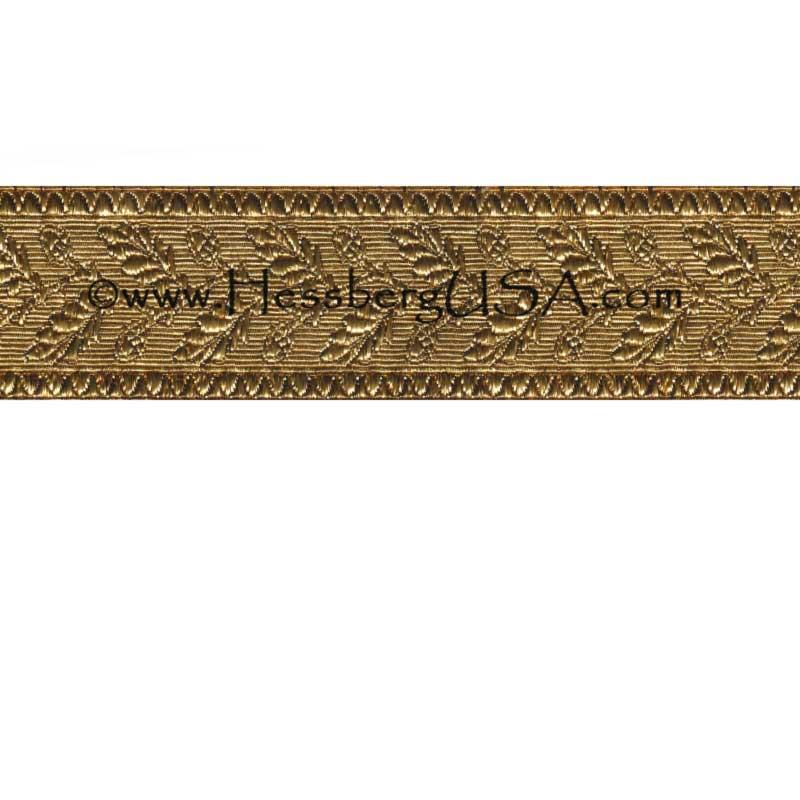 "Closeout 1 1/2"" Metallic Oak Leaf Braid (Shiny Gold)-Hessberg USA"