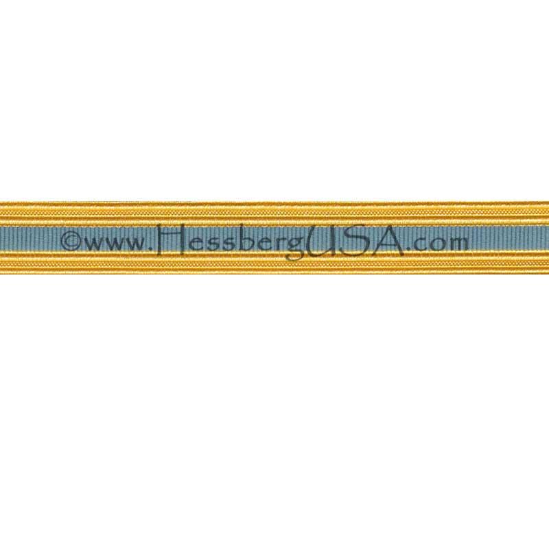 Metallic Sleeve Braid Gold Wire/Light Blue-