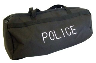 Black Nylon Duffle/Gear Bag w/Police Logo-