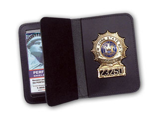"3"" x 5"" Duty Leather Book Style Case With Double ID-"