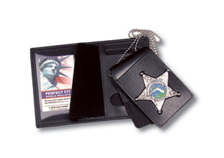 "2 3/4"" x 4 5/8"" Four In One Dress Leather Badge And ID Case With Chain-"