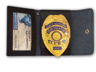 Non Recessed Badge And Double ID Case With hook and loop Closure-