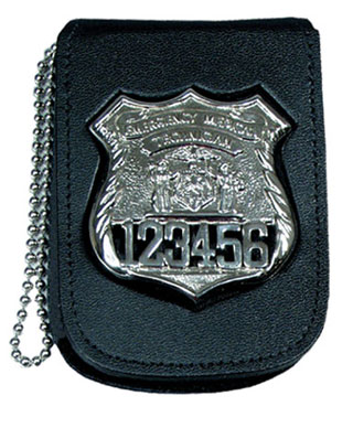 "2 3/4"" x 3 5/8"" Recessed Badge And ID Neck Holder With Pocket And Chain-"