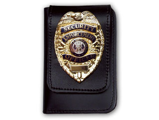 """2 5/8"""" x 4"""" Duty Leather Double ID Case With Badge Flap-"""