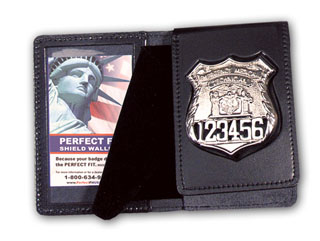 """2 5/8"""" x 4 1/4"""" Duty Leather Flip Out Badge And Single ID Case-"""